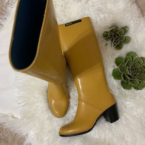 Marc Jacobs Yellow Knee High Rain Boot with Heel 8